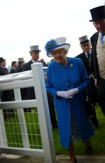 Her Majesty Queen Elizabeth II looking spectacular in hyacinth blue